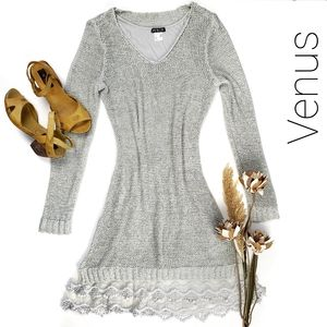 Venus Light Lined Loose Knit Lace Fringe Dess S